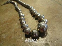 22 OLDER Vintage Navajo Graduated Sterling Silver PEARLS Bench Bead Necklace